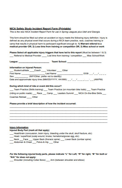 safety study incident report form