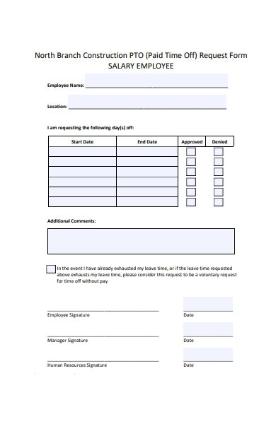 salary time off request form