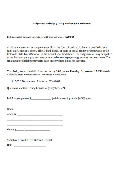 sale bid form