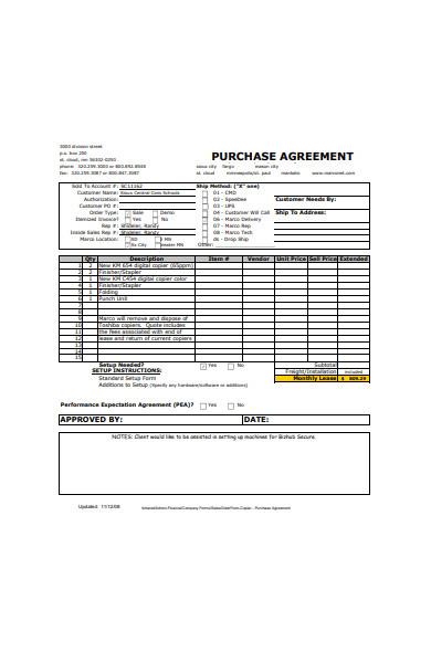 sales order agreement form