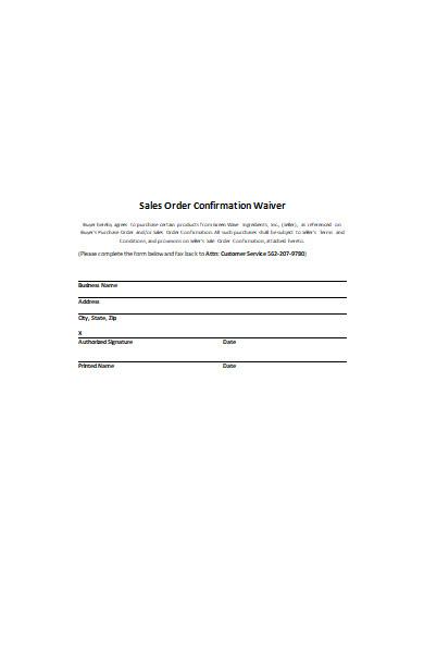 sales order confirmation waiver form