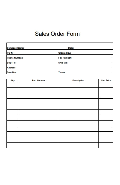 sales order form example