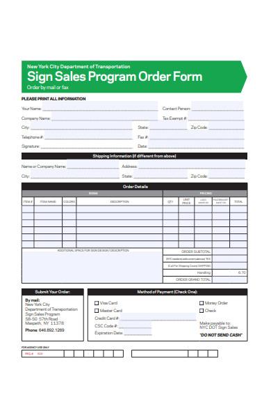 sales program order form