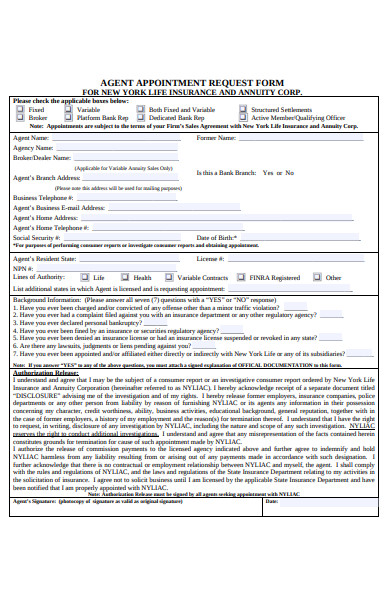 sample agent appointment request form