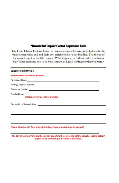 sample art contest registration form