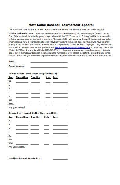 sample basket ball apparel order form