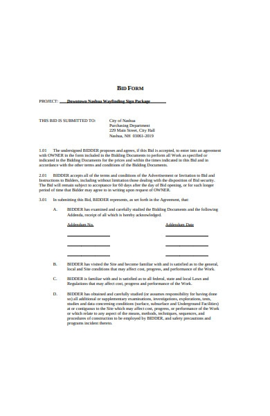 sample bid form