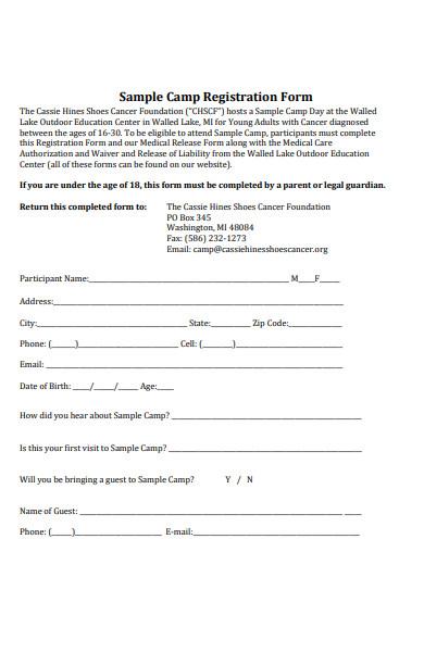 sample camp registration form