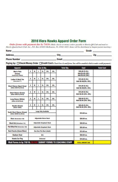 sample club apparel order form