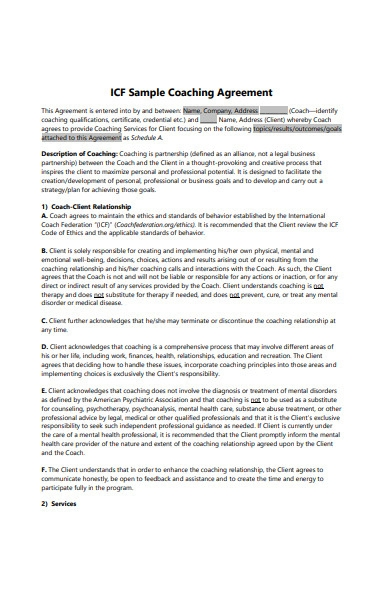 sample coaching agreement form