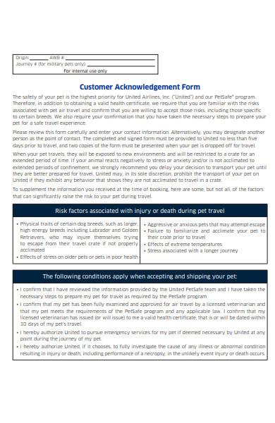 sample customer acknowledgement form