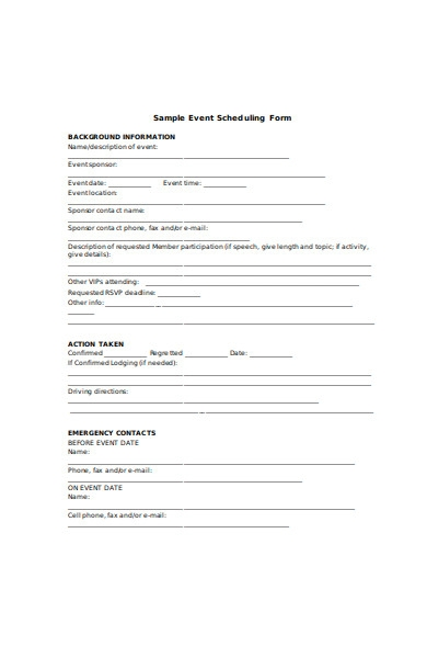 sample event scheduling form