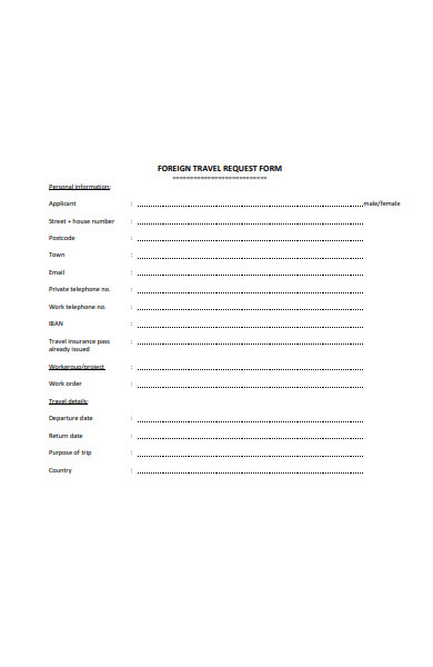 sample foreign travel request form