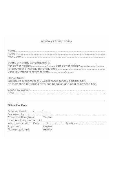 sample holiday request form
