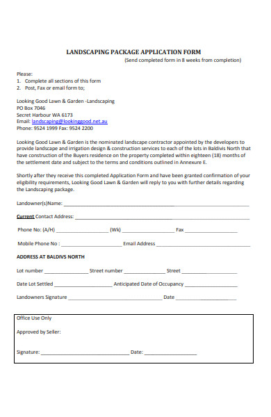 sample landscaping package application form