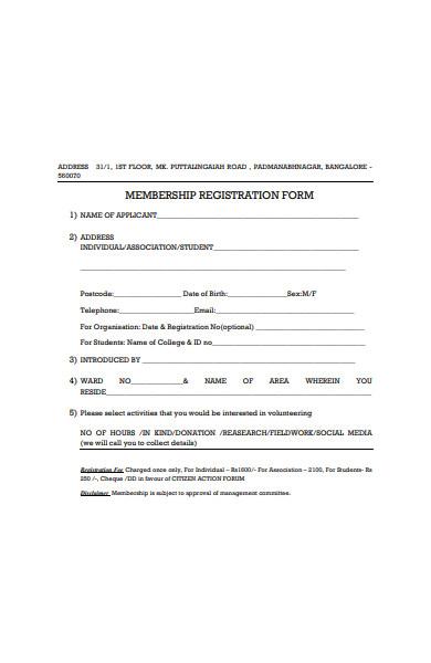 sample membership registration form sample