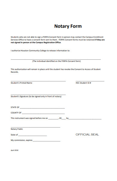 sample notary form