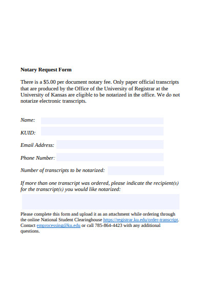 sample notary request form