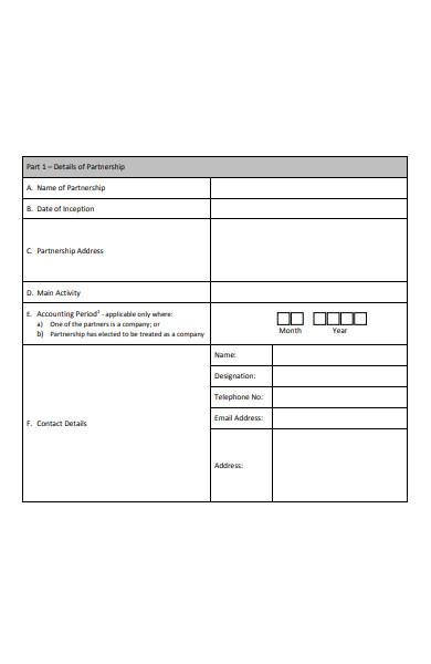 sample partnership registration form