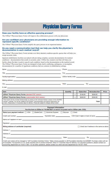 sample physician query form