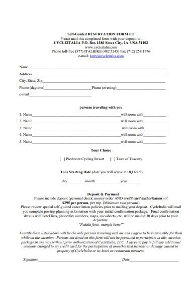 sample restaurant reservation form in pdf