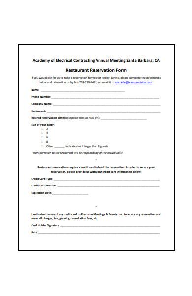 sample restaurant reservation form