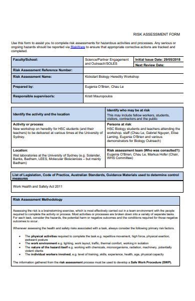 sample school risk assessment form
