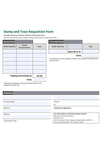 sample stamp requisition form