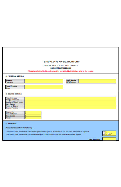 sample study leave application form