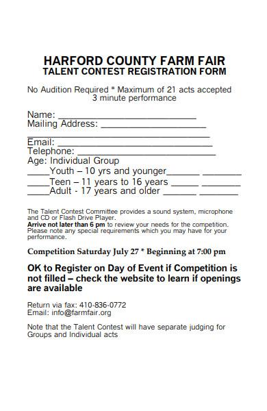 sample talent contest registration form