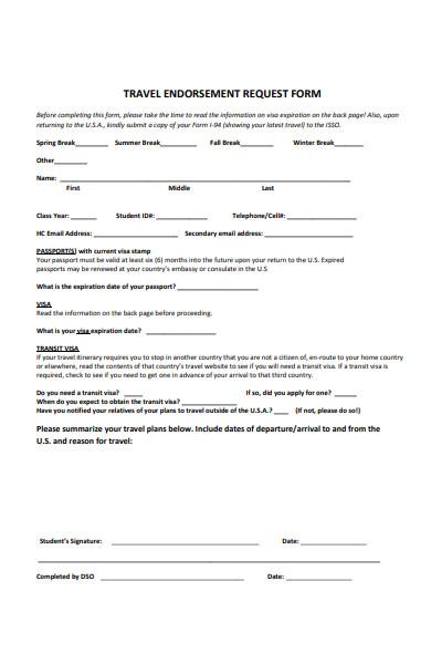 sample travel endorsement request form