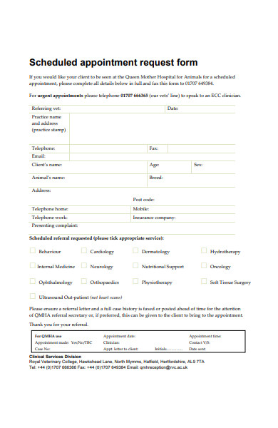 scheduled appointment request form