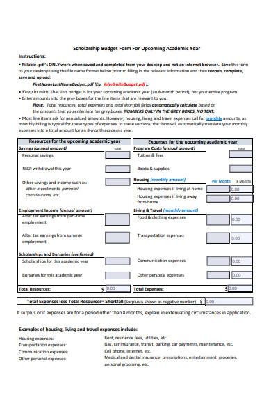 scholarship budget form