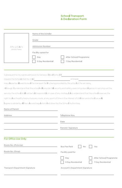 school declaration form