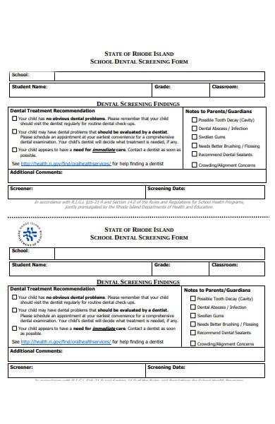 school dental screening form