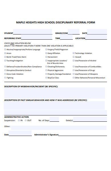 school disciplinary referral form