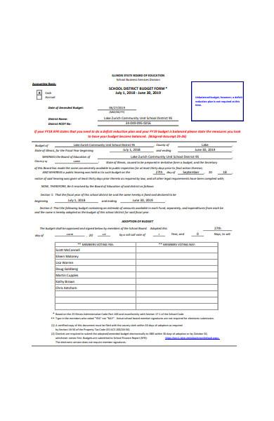 school district budget form