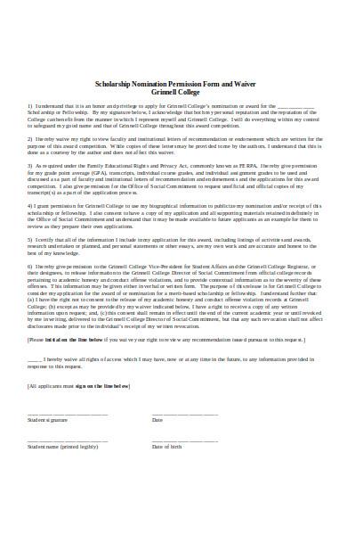 school nominatio permission form