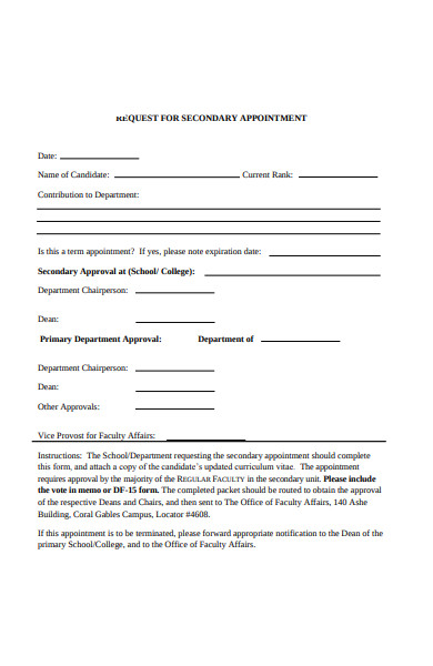 secondary appointment request form