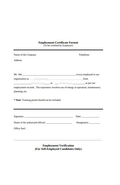self employment verification form