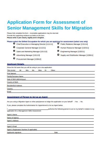 senior management assessment form