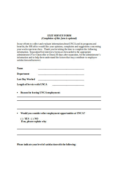 seperation interview form