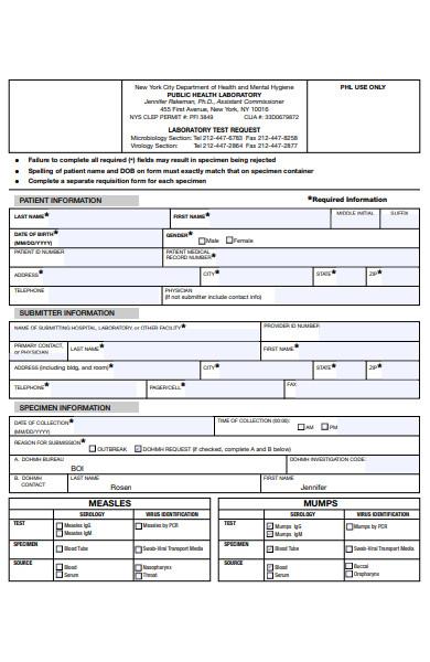 serology requisition form