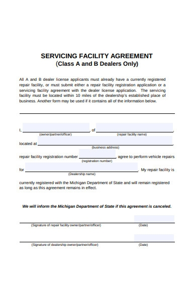 servicing facility agreement form