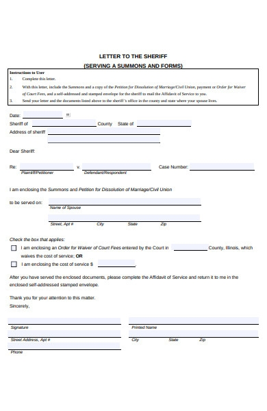 serving letter form