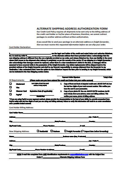 shipping address authorization form