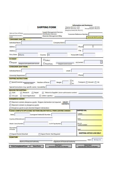 shipping form in pdf