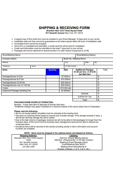 shipping receiving form