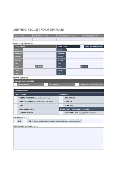 shipping request form template