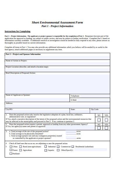 short environmental assessment form